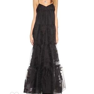 Free People Low back Black Rose maxi dress NWT